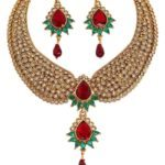 Gold necklace design-Touchstone-Green-Maroon-Stone-Traditional