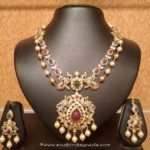 Gold necklace design-Traditional-gold-double-layer-necklace-set