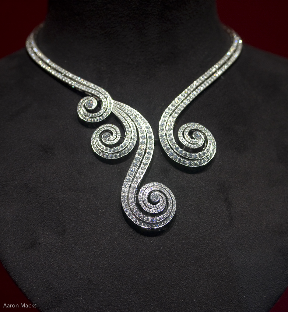 Gold necklace design-Spiral Diamond Necklace