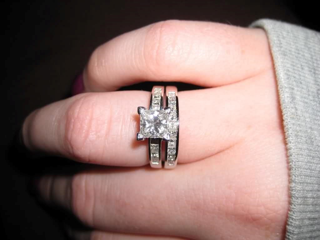 princess cut solitaire engagement rings with wedding band