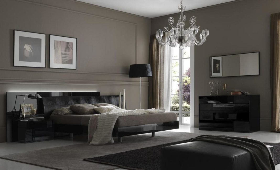 Black colour bedroom