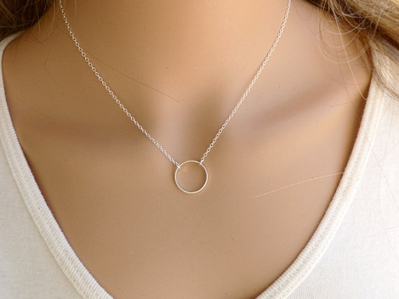 Silver-Circle-Necklace-Silver-Necklace-Silver-plated-Chain-Everyday-Necklace