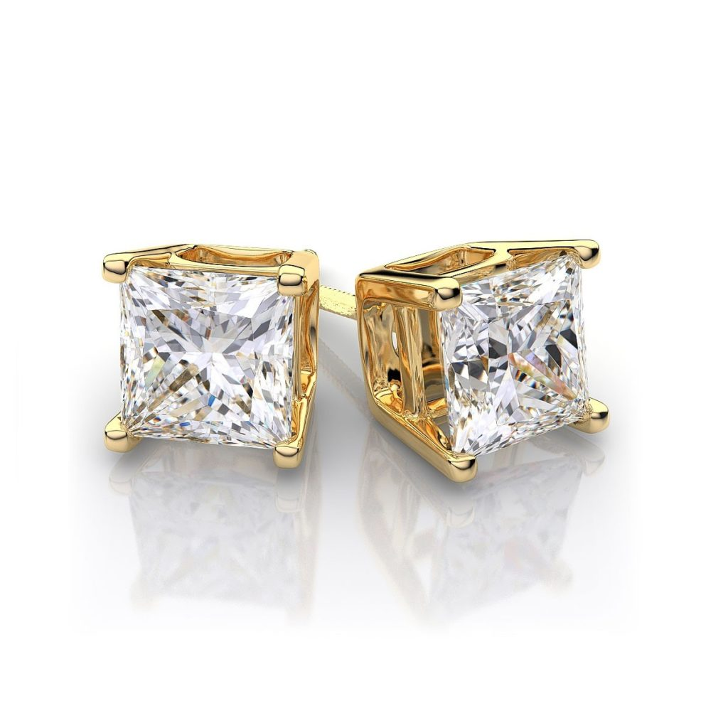 Square-Diamond-Yellow-Gold-Stud-Earrings