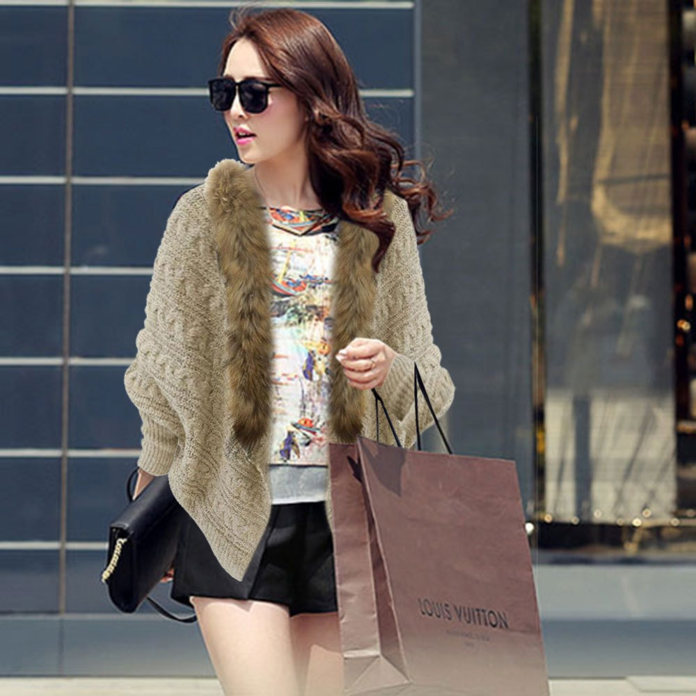 loose sweater Batwing Cardigan irregular fur collar outwear