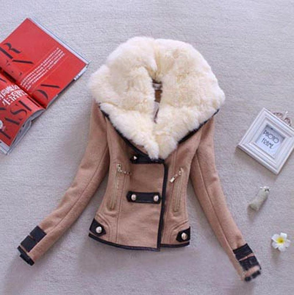 Zeagoo thickening fleece faux fur winter coat
