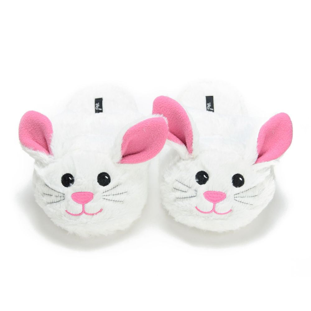 white and pink cat slippers