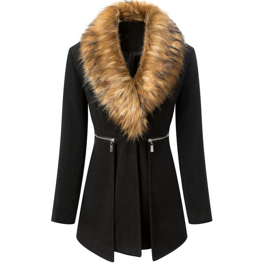 Zeagoo women fur collar wool coat winter wool jacket