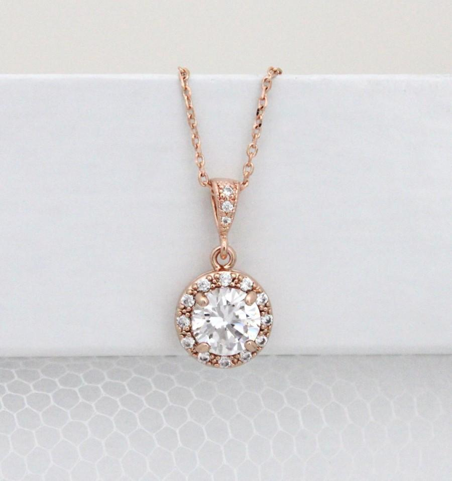 crystal-wedding-necklace-rose-gold-bridal-necklace-rose-gold-necklace-halo-pendant-necklace-bridesmaid-necklace-rose-gold-jewelry