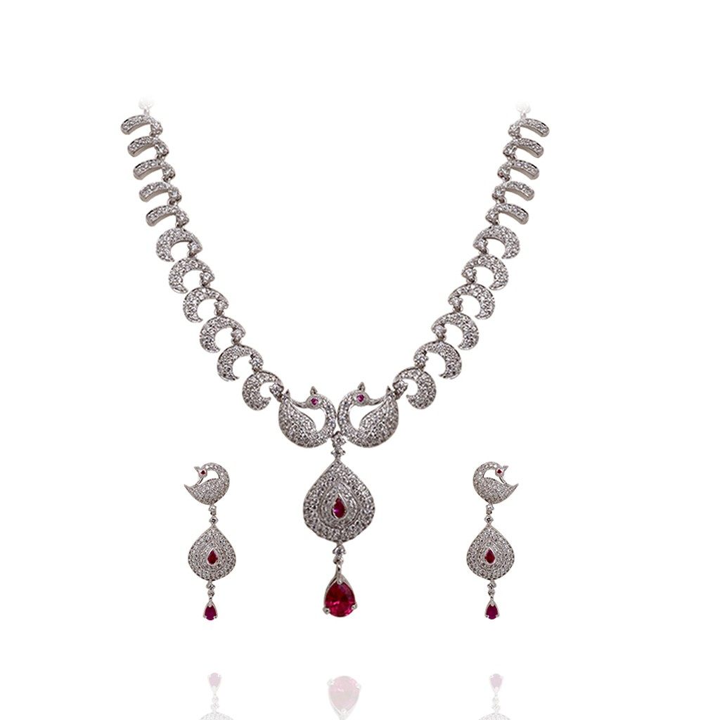 enchant-white-stone-peacock-silver-necklace-set