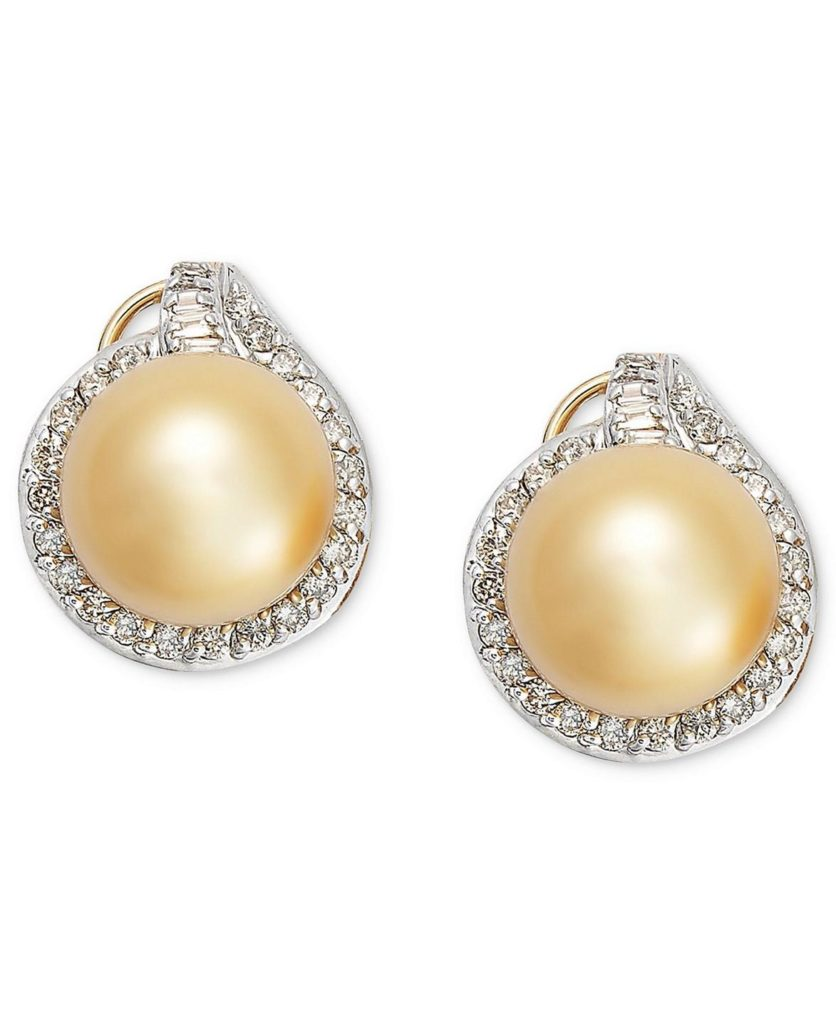 gold pearl stud earring