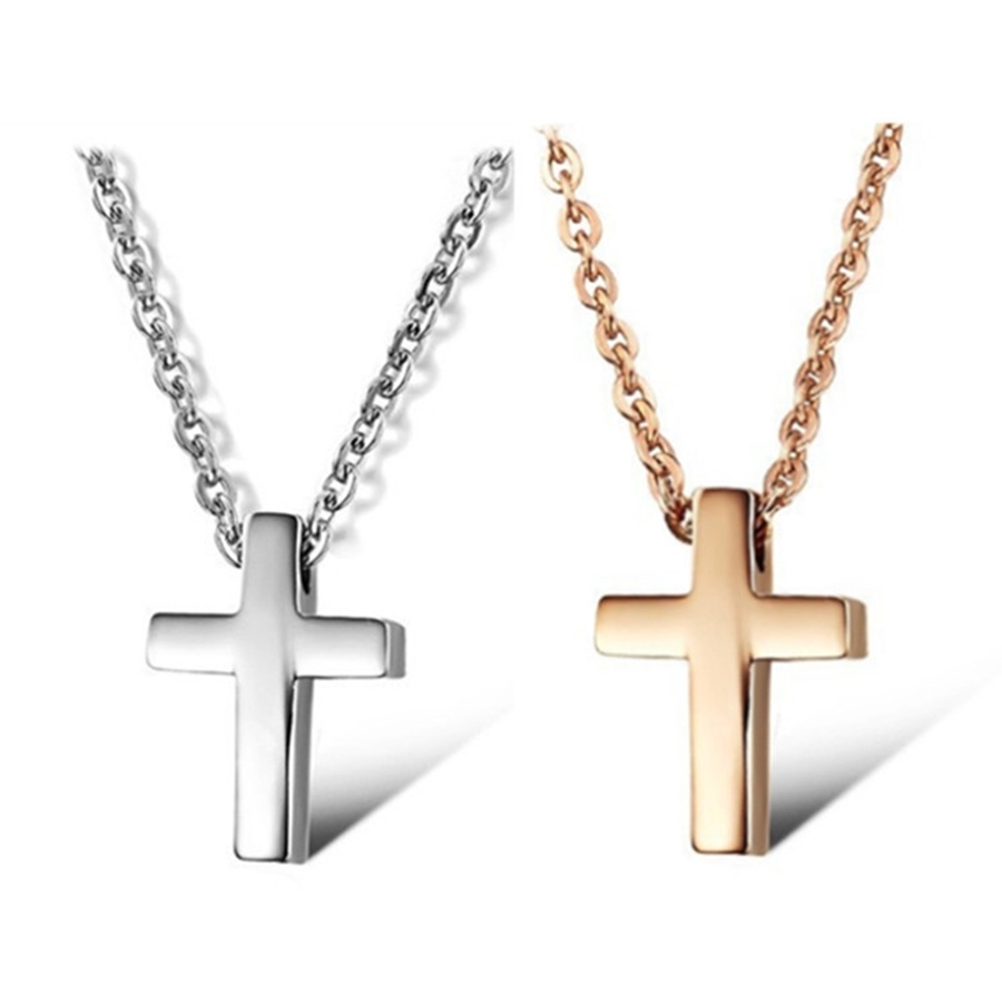 silver-ladies-rose-gold-cross-necklace
