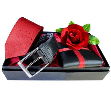 Boyfriend Combo Pack(Belt, Wallet, Tie,Rose)