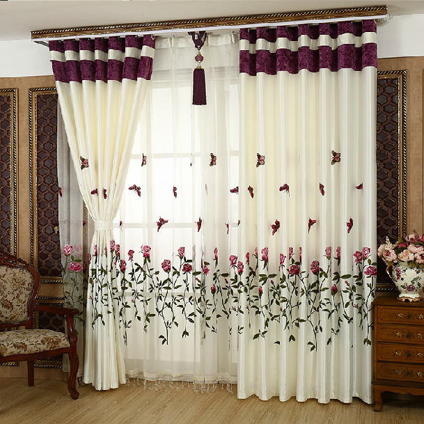 white and red curtain