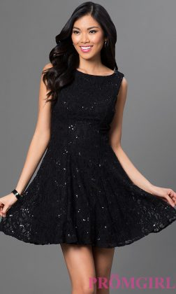 A line black-blac-dress