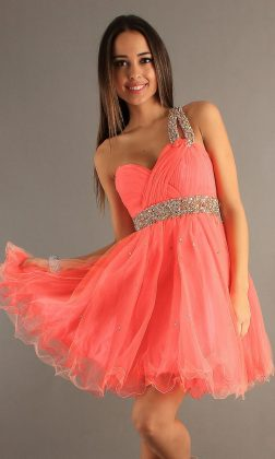 Pleated short prom Dress